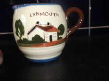 VINTAGE WATCOMBE TORQUAY MOTTO COTTAGE WARE CREAM JUG LYNMOUTH FRESH FROM DAIRY